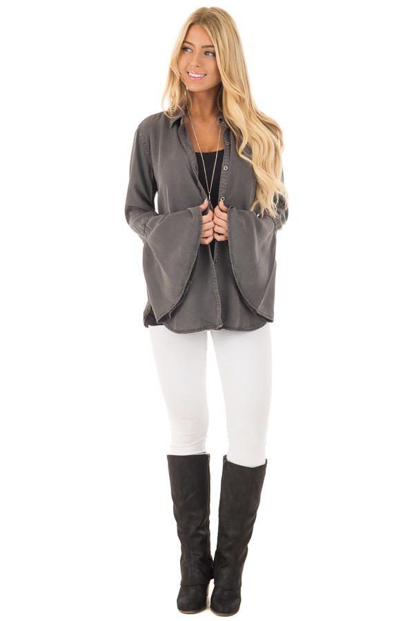 Charcoal Long Bell Sleeve Button Up Top front full body