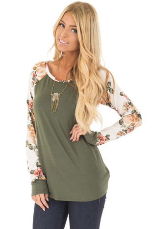 Olive with Floral Raglan Sleeve Top front close up