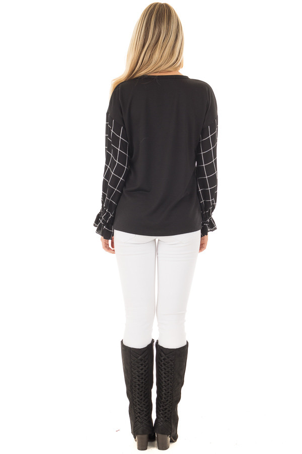 Black Top with Black and White Checkered Long Sleeves back full body