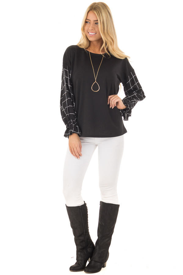 Black Top with Black and White Checkered Long Sleeves front full body