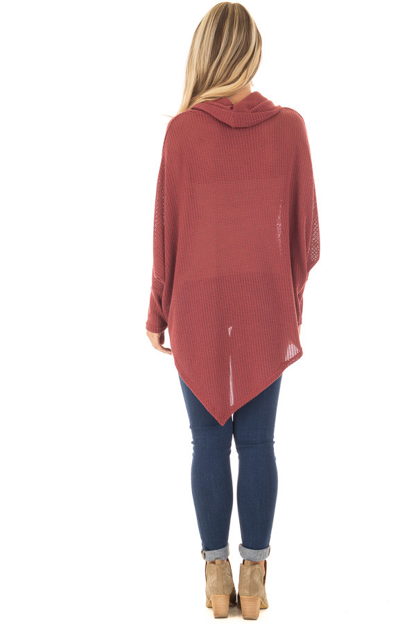 Brick Sweater Cowl Neck Poncho with Buttons Detail back full body