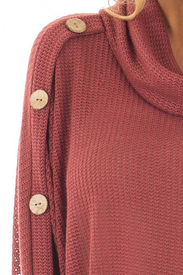 Brick Sweater Cowl Neck Poncho with Buttons Detail detail