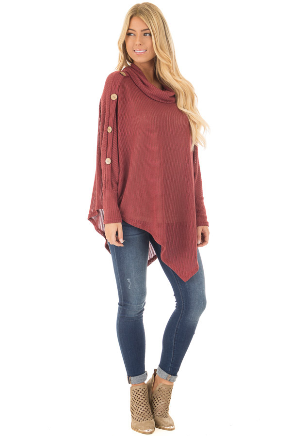 Brick Sweater Cowl Neck Poncho with Buttons Detail  front full body