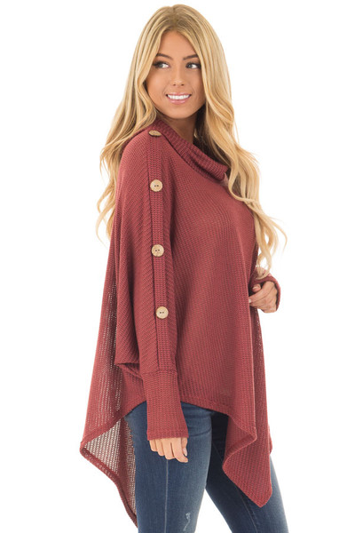 Brick Sweater Cowl Neck Poncho with Buttons Detail side close up
