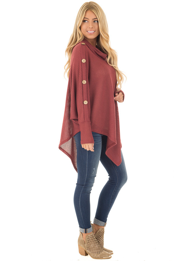 Brick Sweater Cowl Neck Poncho with Buttons Detail side full body