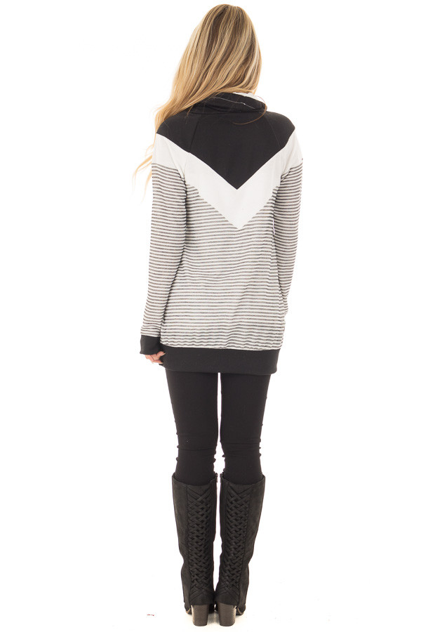 Black Mock Neck Color Blocked Top and Stripe Mix Match back full body