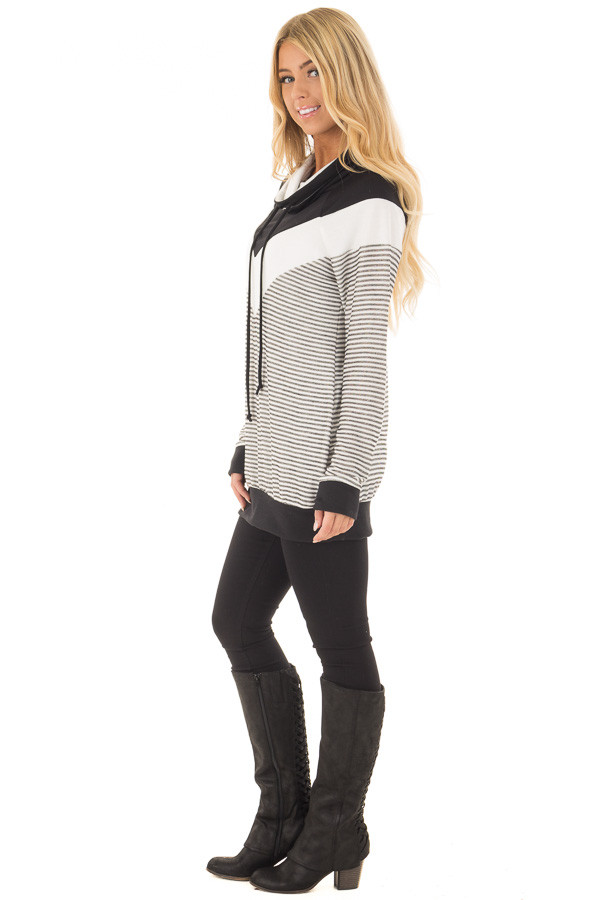 Black Mock Neck Color Blocked Top and Stripe Mix Match side full body