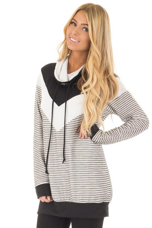 Black Mock Neck Color Blocked Top and Stripe Mix Match front close up