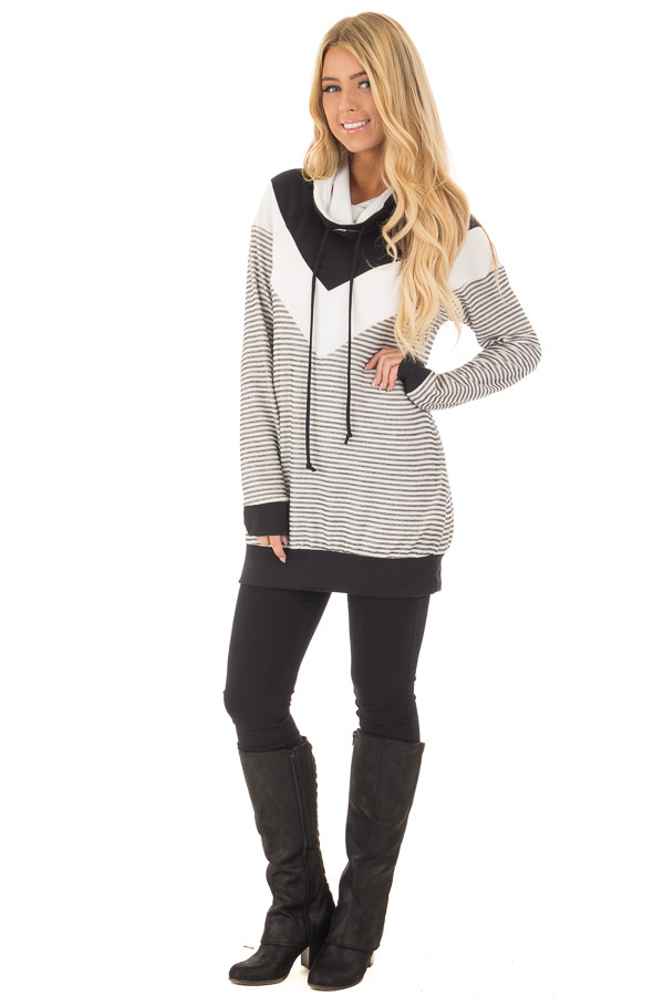 Black Mock Neck Color Blocked Top and Stripe Mix Match front full body