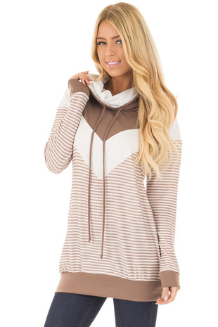 Taupe Mock Neck Color Blocked Top and Stripe Mix Match front close up