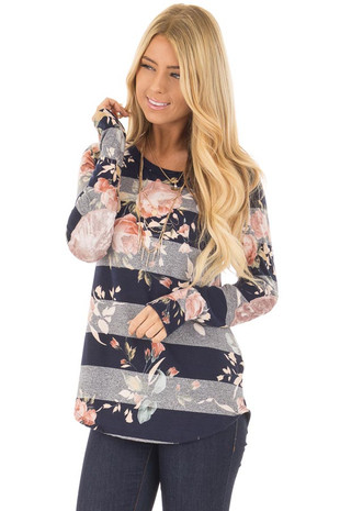 Navy Striped Floral Print Long Sleeve Top with Elbow Patches front close up