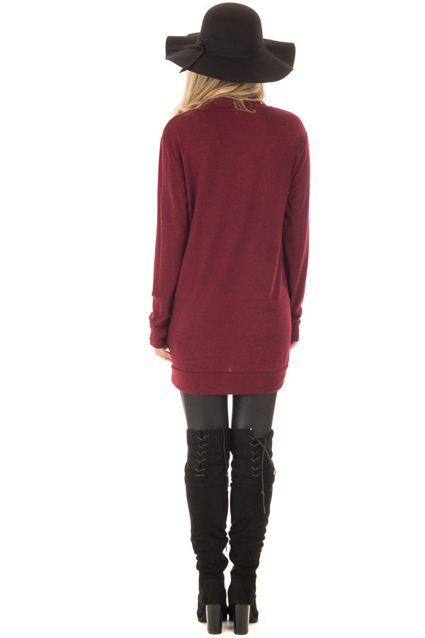 Burgundy Cowl Neck Soft Sweater with Button Details back full body