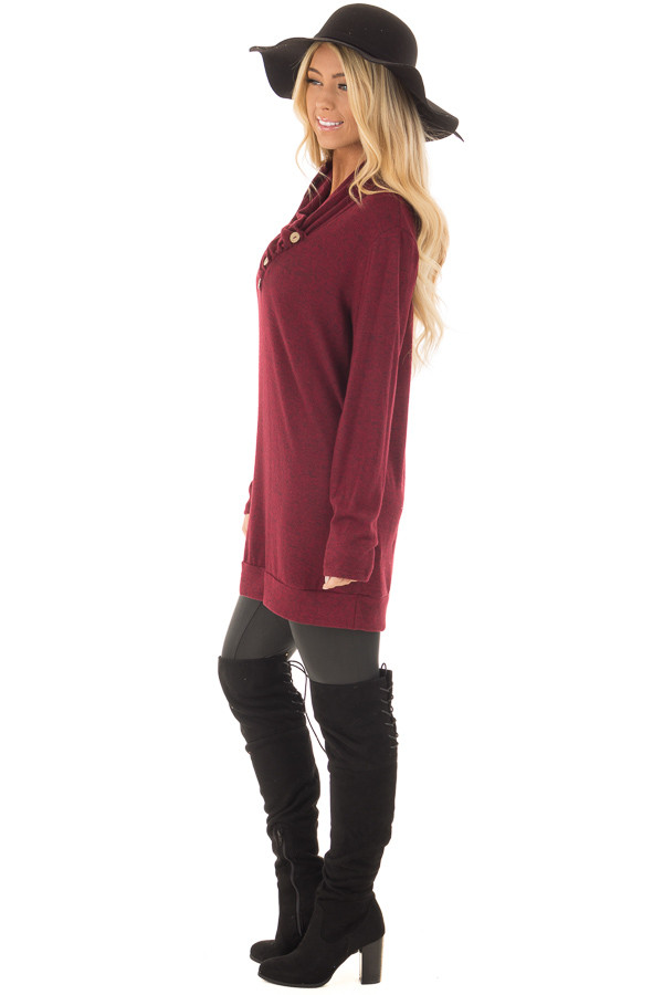 Burgundy Cowl Neck Soft Sweater with Button Details side full body