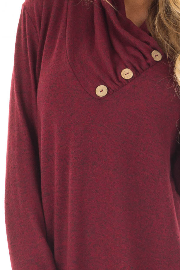 Burgundy Cowl Neck Soft Sweater with Button Details detail