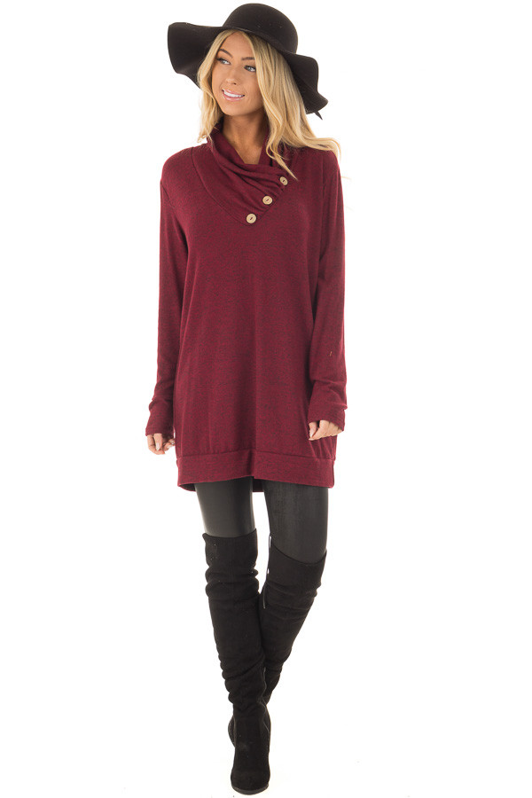Burgundy Cowl Neck Soft Sweater with Button Details front full body