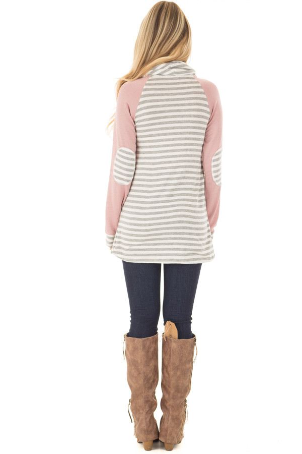 Blush Raglan Sleeve Cowl Neck with Grey Striped Detail back full body