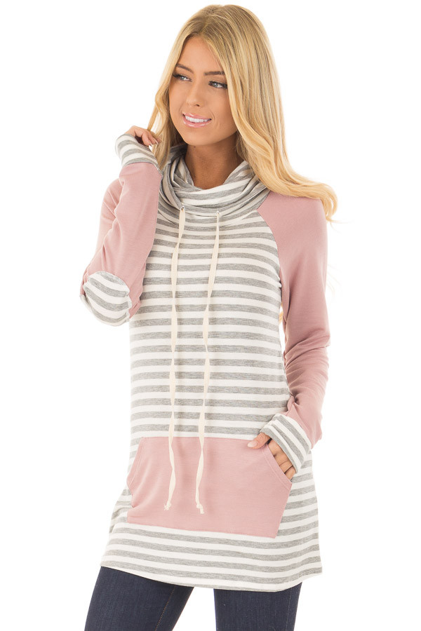 Blush Raglan Sleeve Cowl Neck with Grey Striped Detail front close up