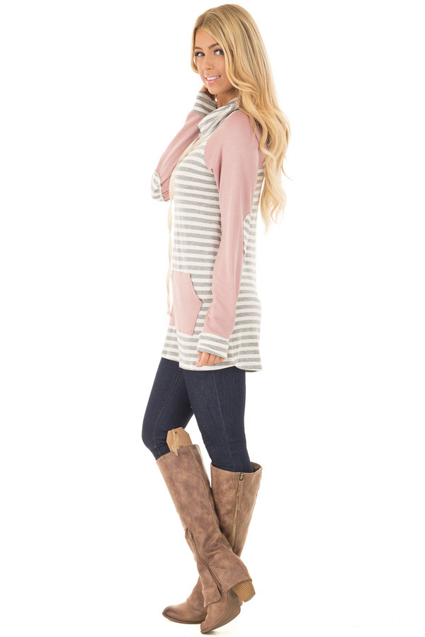 Blush Raglan Sleeve Cowl Neck with Grey Striped Detail side full body