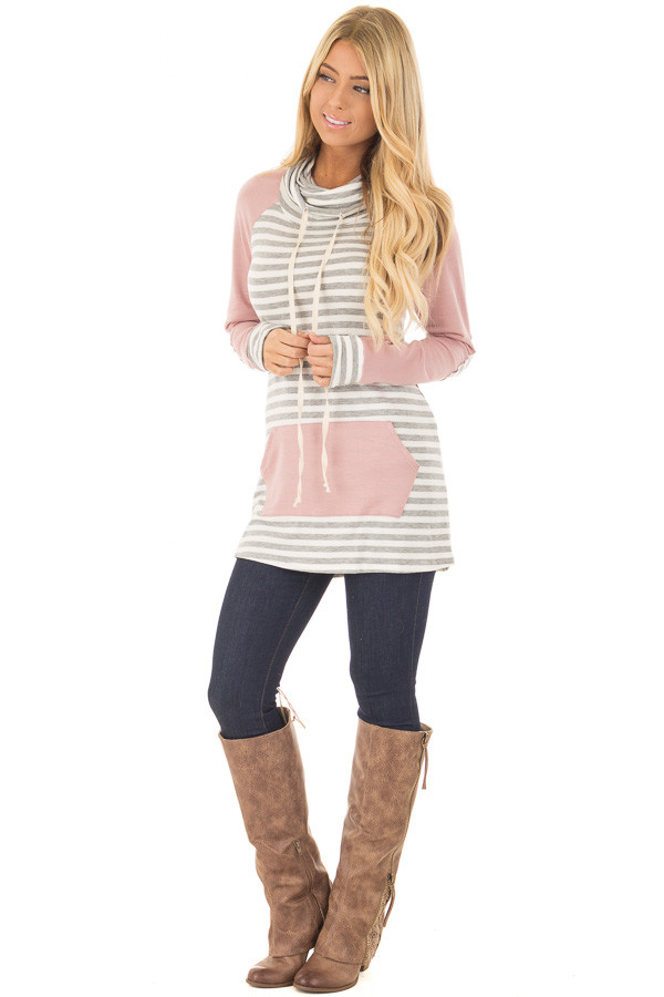 Blush Raglan Sleeve Cowl Neck with Grey Striped Detail front full body