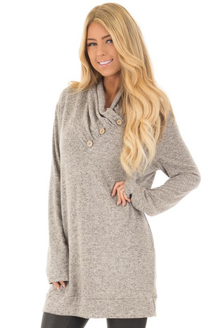 Heather Grey Cowl Neck Soft Sweater with Button Details front close up