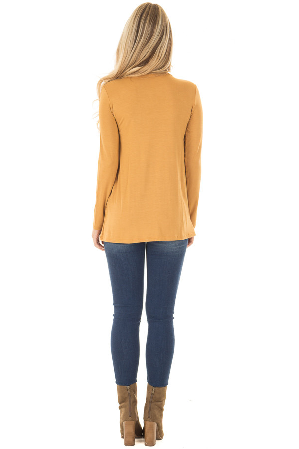 Mustard Long Sleeve Top with Embroidery Details back full body
