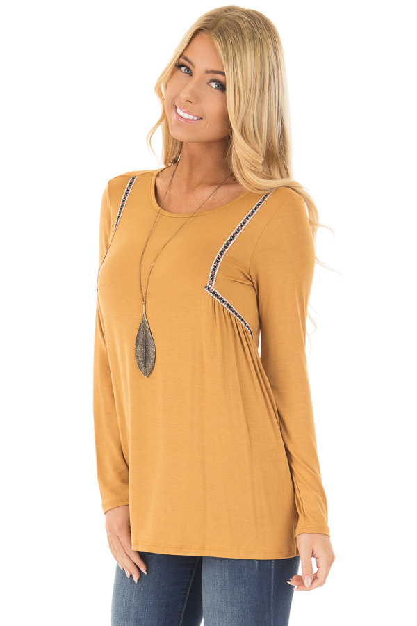 Mustard Long Sleeve Top with Embroidery Details front close up