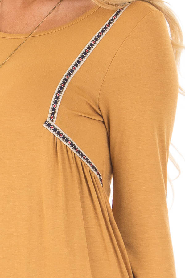 Mustard Long Sleeve Top with Embroidery Details detail