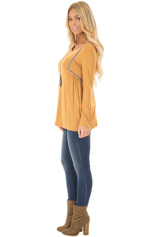 Mustard Long Sleeve Top with Embroidery Details side full body