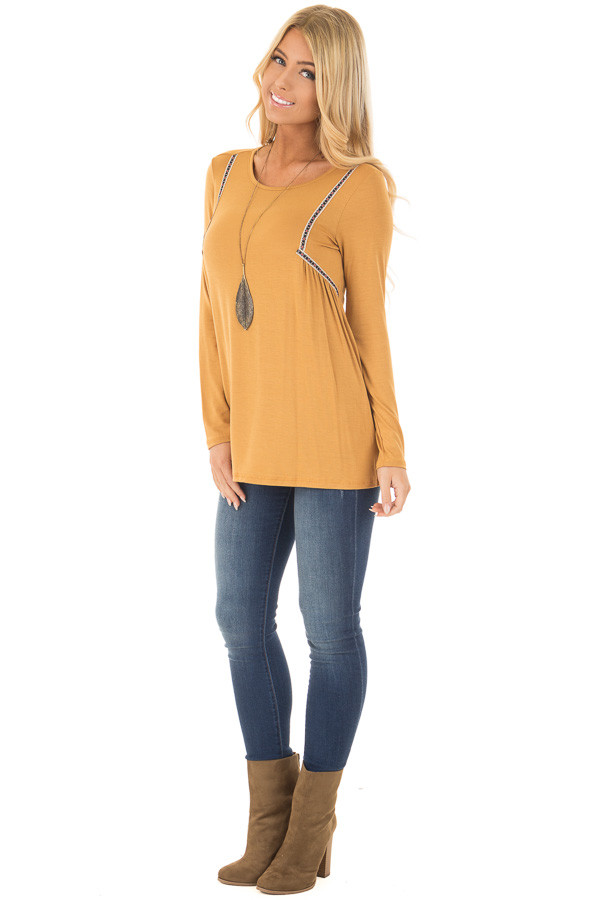 Mustard Long Sleeve Top with Embroidery Details front full body