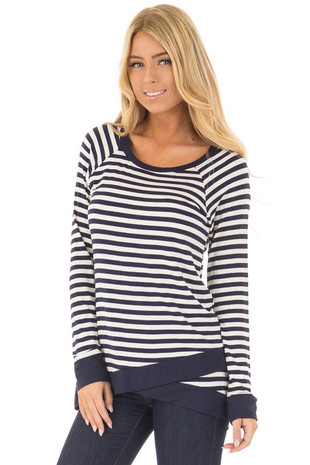 Navy Striped Long Sleeve Top with Criss Cross Hemline front close up