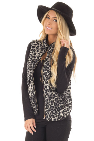 Black Leopard Print Zip Up Vest with Front Pockets front close up