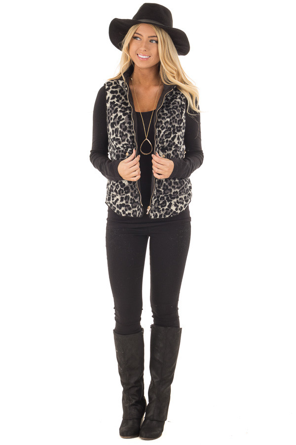 Black Leopard Print Zip Up Vest with Front Pockets front full body