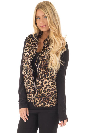 Mocha Leopard Print Zip Up Vest with Front Pockets front close up