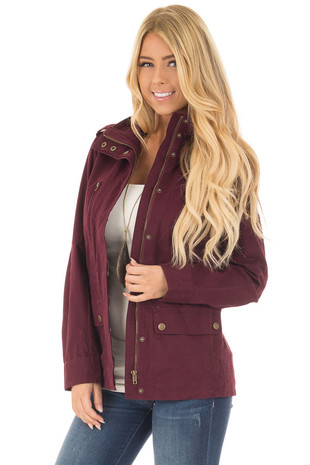 Wine Lightweight Military Jacket with Drawstring Waist front close up