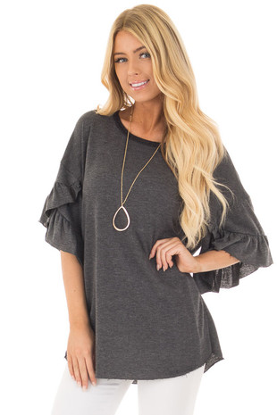 Charcoal 3/4 Ruffle Hem Sleeve Top with Raw Edges front close up