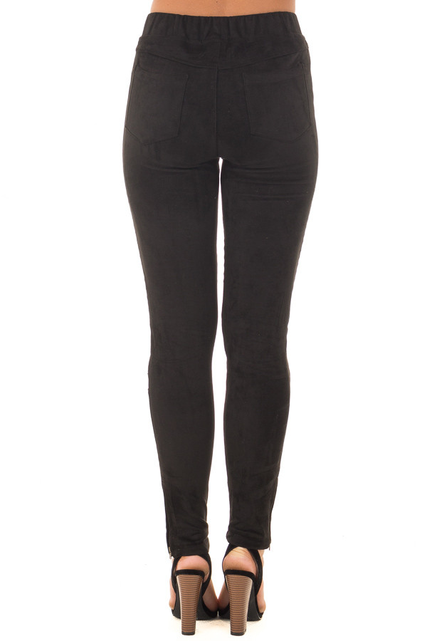 Black Faux Suede High Waist Moto Leggings with Ankle Zippers back view