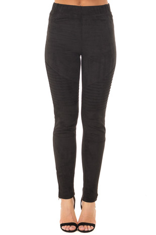 Black Faux Suede High Waist Moto Leggings with Ankle Zippers front view