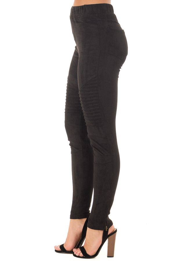 Black Faux Suede High Waist Moto Leggings with Ankle Zippers side view