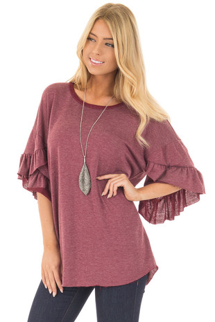 Burgundy 3/4 Ruffle Hem Sleeve Top with Raw Edges front close up