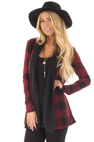 Red and Black Plaid Long Sleeve Cardigan front close up