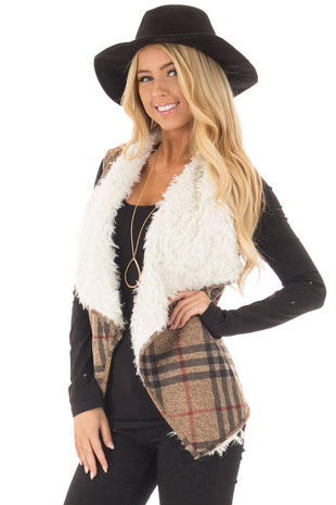 Taupe Mix Open Drape Vest with Faux Fur Lining and Pockets front close up