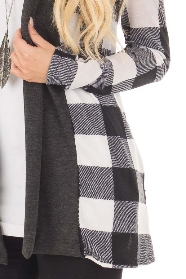 Black and White Plaid Long Sleeve Cardigan detail