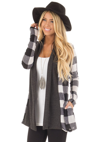 Black and White Plaid Long Sleeve Cardigan front close up