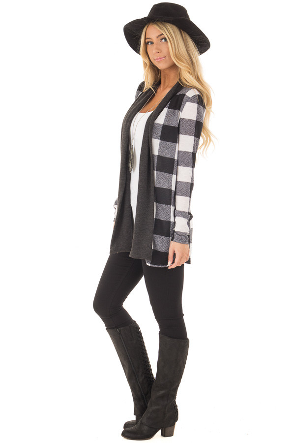Black and White Plaid Long Sleeve Cardigan side full body