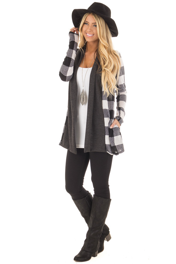 Black and White Plaid Long Sleeve Cardigan front full body
