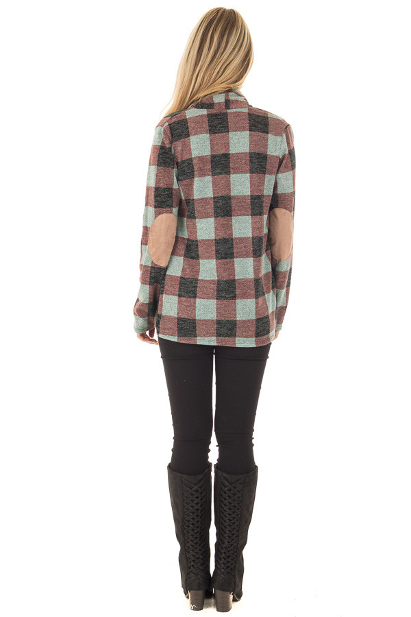Burgundy Checkered Long Sleeve Cardigan with Elbow Patches back full body