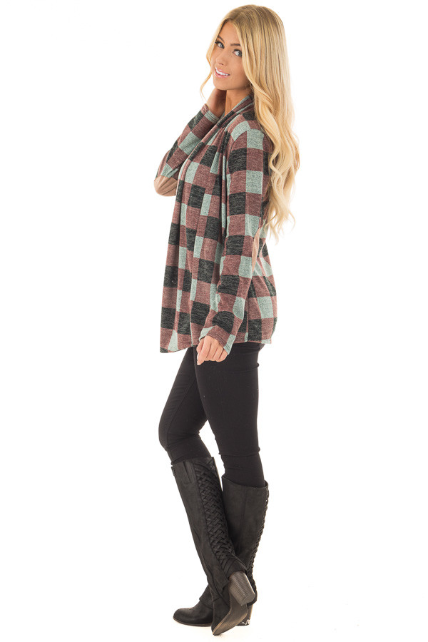 Burgundy Checkered Long Sleeve Cardigan with Elbow Patches side full body