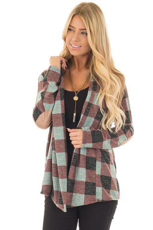 Burgundy Checkered Long Sleeve Cardigan with Elbow Patches front close up