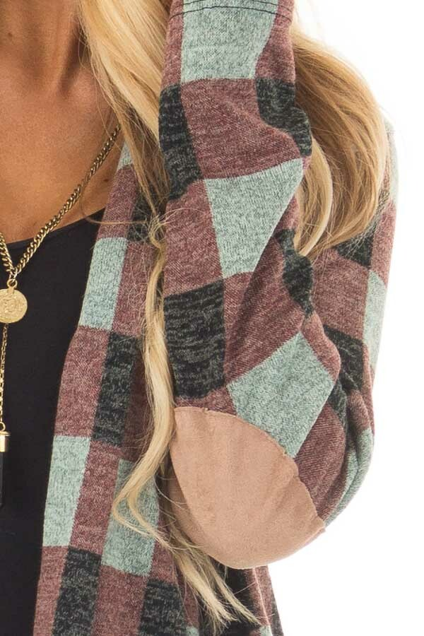 Burgundy Checkered Long Sleeve Cardigan with Elbow Patches detail