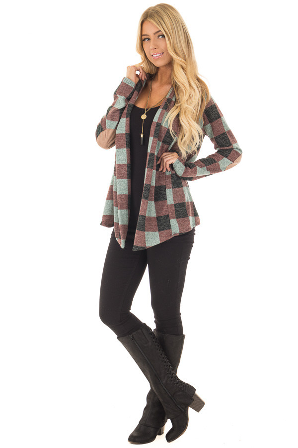 Burgundy Checkered Long Sleeve Cardigan with Elbow Patches front full body